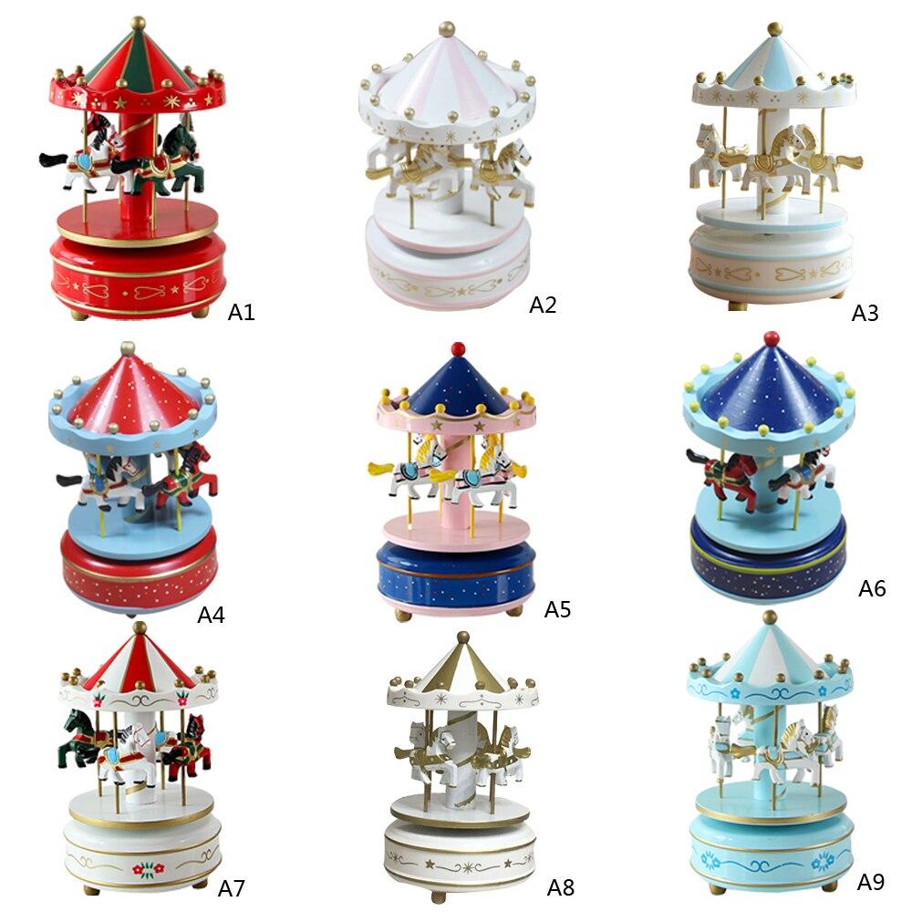 1 pc Vintage Merry-Go-Round Carousel Horse Music Box For Kids Birthday Wedding Gift Toy Home Desk Decor VBQ35 T50