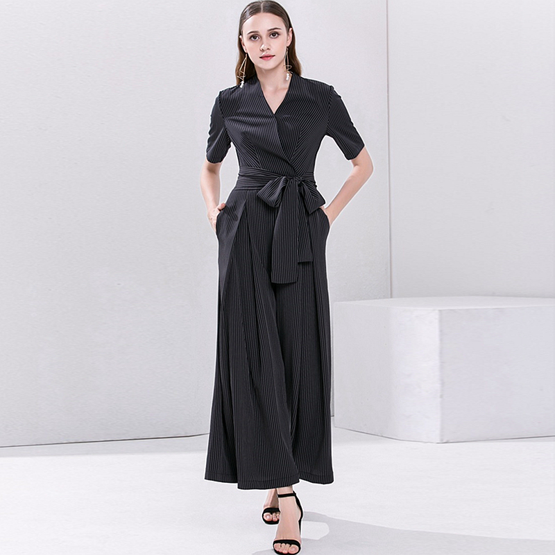 Jumpsuits Women Cross V Neck Short Sleeves Sashes Full Length Wide Leg 100% Polyester Elegant Style Ladies New Fashion 2018