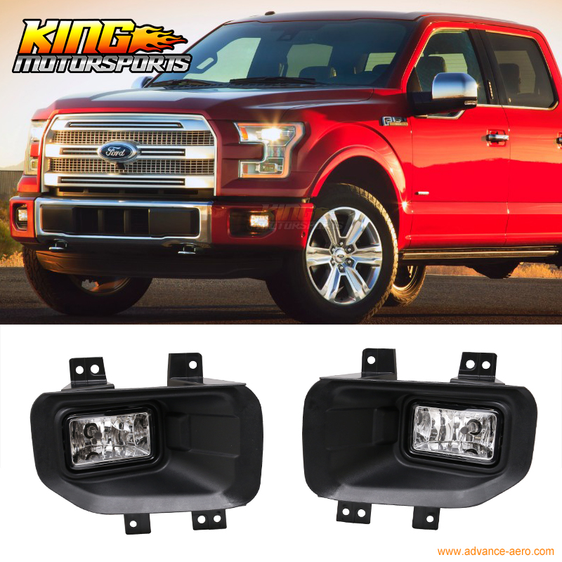 Fit For 15-16 Ford F150 Front Fog Light Lamp LH RH Pair ABS Housing Clear Lens H10 12V 42W fit for 15 17 gmc yukon denali front fog light lamp chrome bezel lh rh h3 12v 20w clear lens