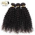 Febay cabello productos venta 7A barato Brasileño rizado rizado pelo 4 unids/lote afro rizado pelo virginal rizado natural del pelo negro teje