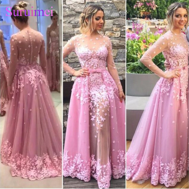 ea8874386850 New Elegant Long Sleeves A Line Pink Prom Dress 2018 Removable Tail Lace  With Appliques Evening Prom Gown Vestido De Festa