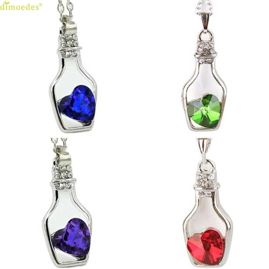 Горячая Лучшая цена модные женские модные популярные хрустальные ожерелья Любовь дрейф бутылки