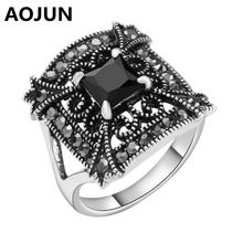 AOJUN Princess Cut Black Resin Rings Antique Silver Plated Vintage Carved Luxury Crystal Ring For Women Fashion Jewelry Gift