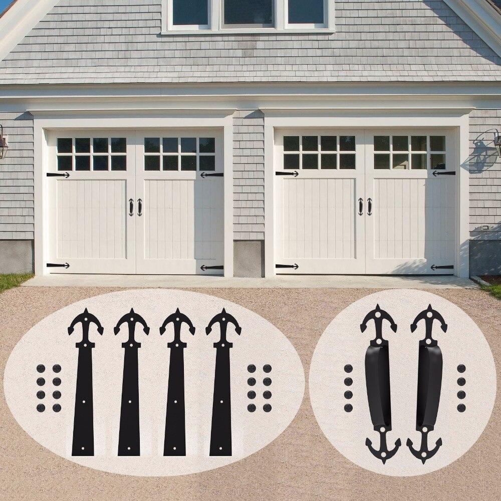 LWZH Decorative Carriage House Garage Handle Hinge Accent Set Sliding Barn Door Hardware Kit Anchor Style