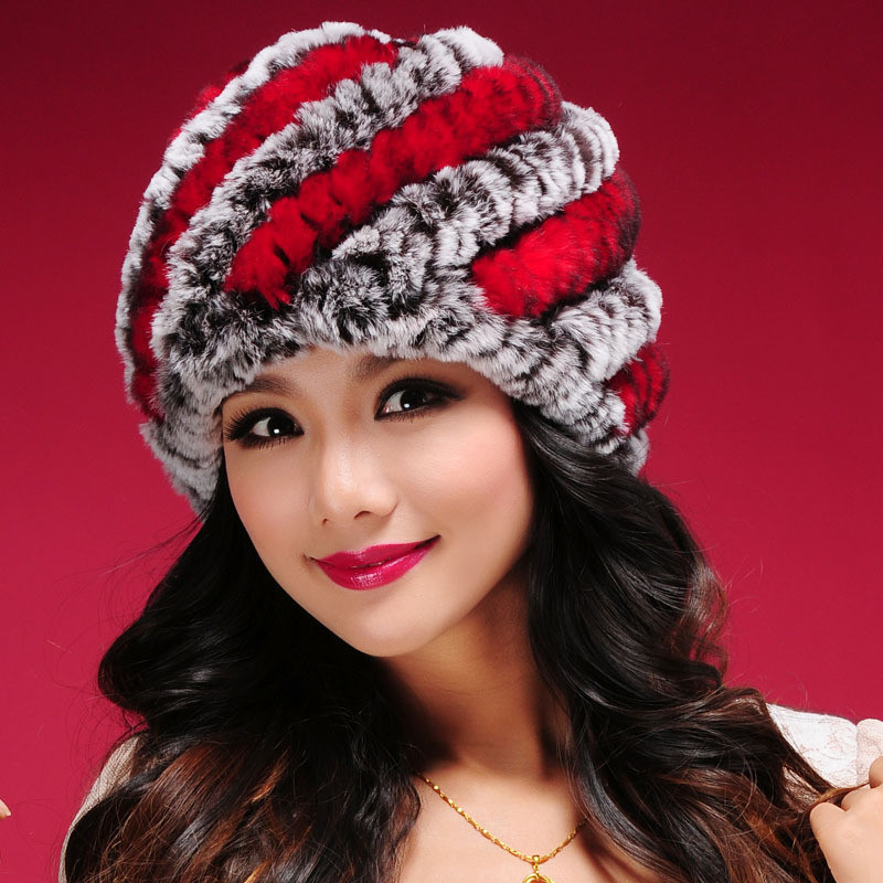 2016 Women's Fashion Natural Knitted Rex Rabbit Fur Hats Female Genuine Winter Women Caps Lady Headgear Beanies