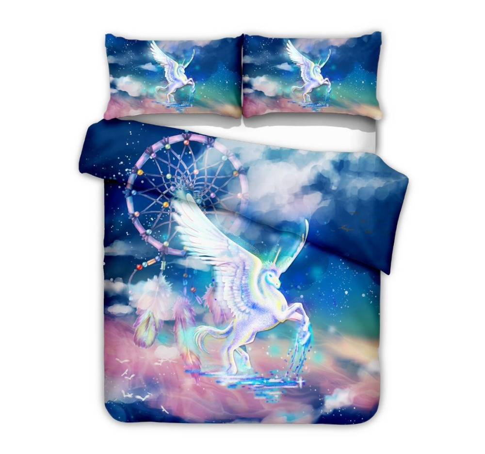 HD Digital Printed Unicorn 2PC/3PC Duvet Cover Set Printing Bed Linens Single US Twin Queen King Size Pillowcase