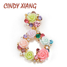 CINDY XIANG 3 Colors Choose Resin Flower Circle Brooch Summer Garden Style Brooches for Women Girls Dress Accessories Good Gift