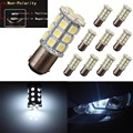 10X BA15D Xenon White 5050 27SMD For Boat Marine RV Car LED Light Bulb 1142 1076