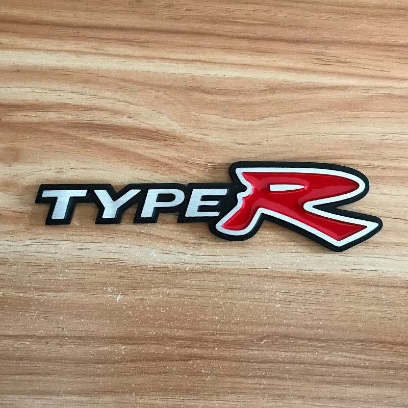 JDM Brushed aluminum car sticker for TYPE R logo Tail Fender Stickers for honda civic accord <font><b>gk5</b></font> crv <font><b>jazz</b></font> s2000 accessories image