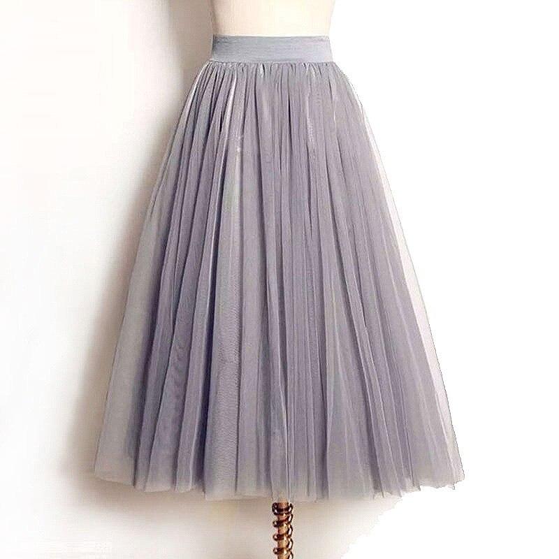 Mesh Skirt Tulle Pleated Elastic Midi Long High-Waist Womens Summer Faldas Saias Jupe