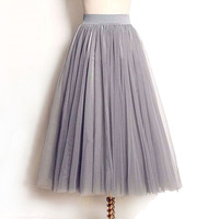2016 Summer Autumn 4 Layers Tulle Midi Skirts Women Elastic High Waist Ladies Long Skirt Tutu