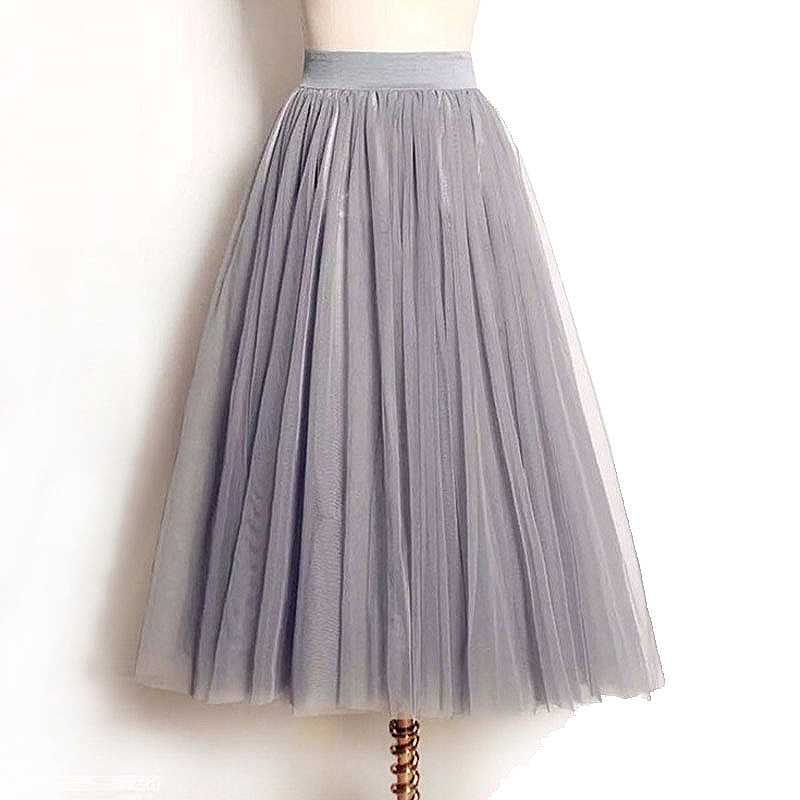 2019 Sommar Vintage Kjolar Dam Elastisk Hög Midja Tulle Mesh Kjol Lång Pläterad Tutu Kjol Kvinnor Saias Midi Faldas Jupe