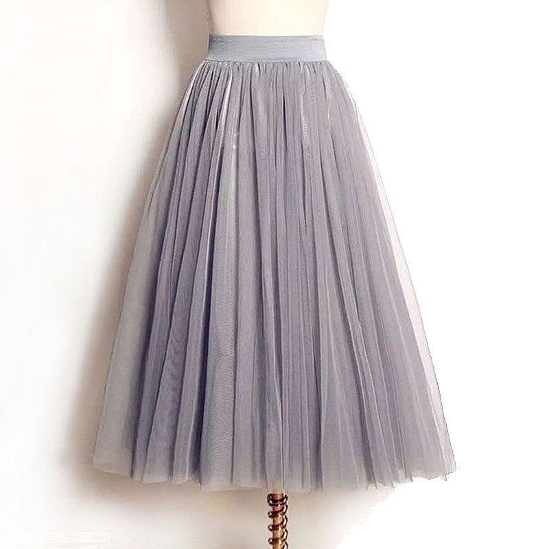 Women's Skirts 2020 New Summer Vintage Elastic High Waist Tulle Mesh Skirt Long Pleated Tutu Skirt Women Saias Midi Faldas Jupe