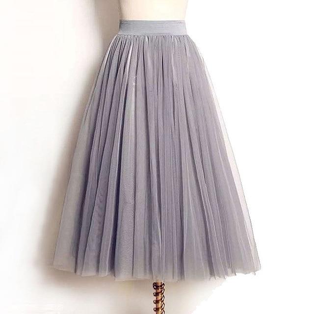 Womens Skirts 2020 New Summer Vintage Elastic High Waist Tulle Mesh Skirt Long Pleated Tutu Skirt Women Saias Midi Faldas Jupe