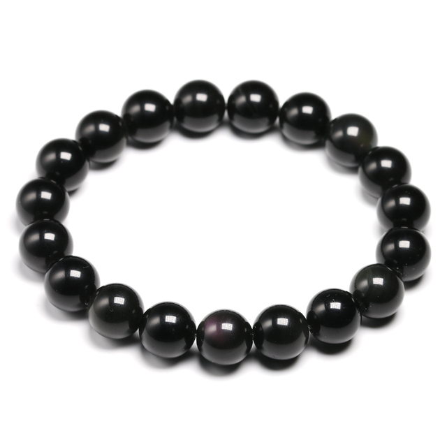Natural Colorful Obsidian Bracelet Jewelry Stone Beads Round Bracelet Energy Bangle For Men & Women Valentine's Gift New Design