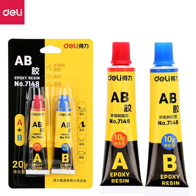Deli 7148# 10g Epoxy Resin AB Glue Transparent Strong Plastic Metal Mold Glue A+B 20g High Viscosity Universal Glue