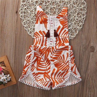 992663737a6e Summer Newborn Kid Baby Boy Girl Tassel Orange Sleeveless Floral Romper  Jumpsuit Outfit Sunsuit Clothes-in Clothing Sets from Mother   Kids on ...