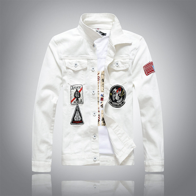 7a5aae1881c new white Men s Denim Jacket high quality fashion Jeans Jackets casual  streetwear Vintage Mens jean clothing Plus Size M-3XL