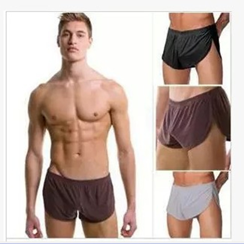 Men Casual Pants Home Underwear Silky Boxers Men Shorts Breathable Pajamas