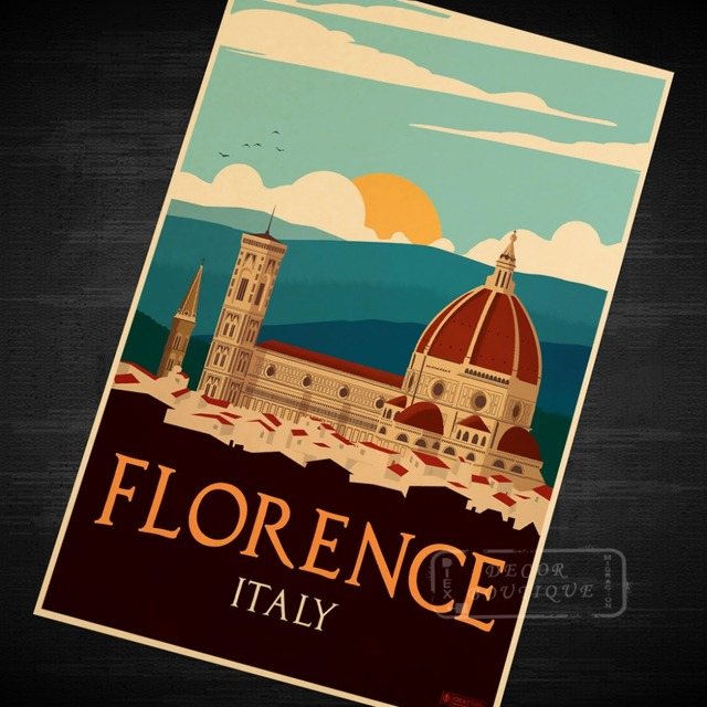 Pop Art Europe City Florence Italy Travel Poster Vintage Retro Decorative Diy Wall Canvas Stickers Home Posters Bar Deco