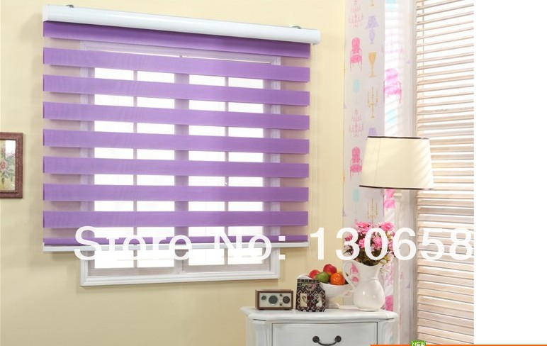 Purple Zebra Roller Blinds Shade Custom Made Polyster Window Shutter Sale Sheer Curtains Home