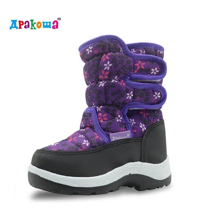 Apakowa Winter Waterproof Girls Boots Pu Leather Children's Shoes For Girls Mid-Calf Warm Plush Snow Boots Rubber Winter Boots