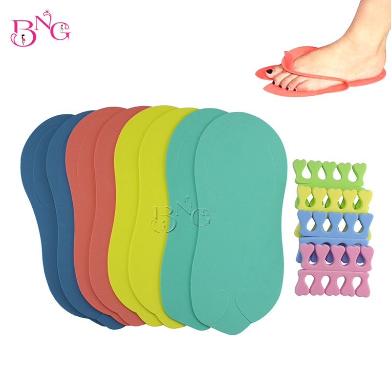 BNG 4Pairs Eva Disposable Pedicure Salon Slippers+ 4pairs Finger Toe Separators Gel Toe Stretchers Manicure Kit Salon Nail Spa