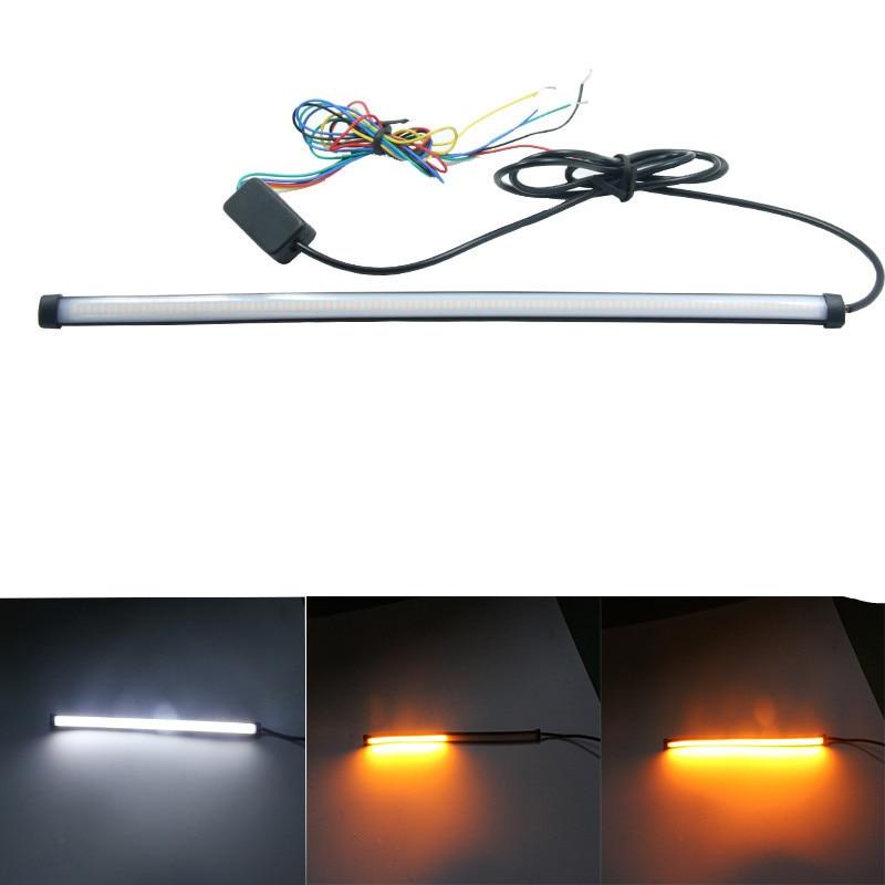 Dual color 30CM/45CM/60CM flowing Flexible Switchback Knight Rider Strip light brake flashing Flexible Turn Signal DRL LED Strip