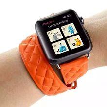 De alta calidad de cuero genuino lazo doble gira para apple watch band 42mm con adaptador, para apple watch correa de cuero 38mm