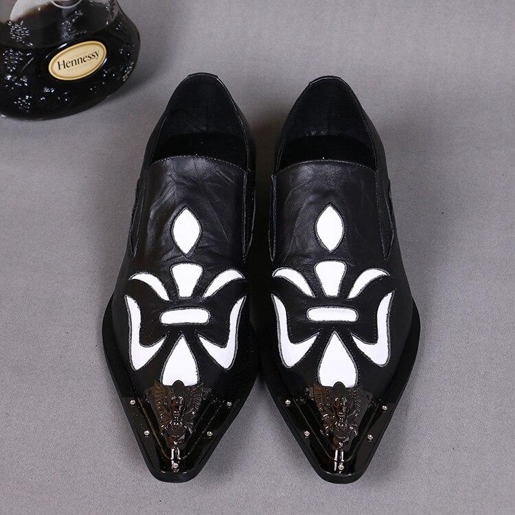 Pé Casamento Dedo Brogues Metal Branco Para Homens Couro Preto Do Sapatos Oxford Sobre Genuíno Vestem Deslizar De Patchwork Se qwFBv8xU
