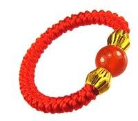 純粋な24 kイエローゴールドリング赤い手作り文字列織りリング