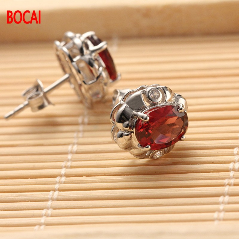 цена на 925 Silver Plated rose gold inlaid garnet earrings earrings factory direct wholesale