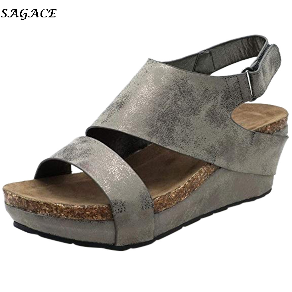 SAGACE Heel Sandals Women Wedges Ladies Platform-Shoes Open-Toe Summer Woman Mujer 30