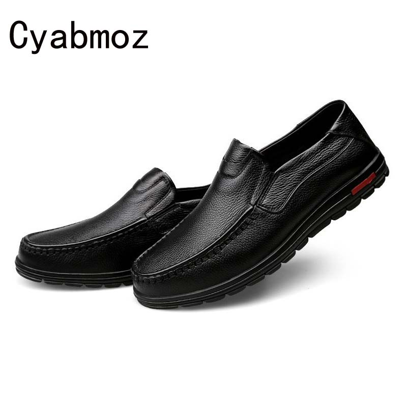 Newest 2017 Men Genuine Leather Comfortable Driving Shoes Soft Flats Moccasins Slip On Loafers Big Size Male Fashion Casual Shoe split leather dot men casual shoes moccasins soft bottom brand designer footwear flats loafers comfortable driving shoes rmc 395