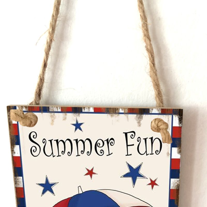 Image 4 - Vintage Wooden Hanging Plaque Welcome Summer Fun Sign Board Wall Door Home Decoration Independence Day Party Gift-in Plaques & Signs from Home & Garden
