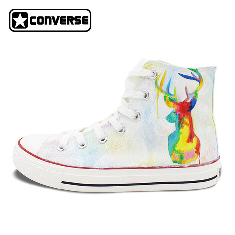 Women Men Sneakers Boys Girls Converse All Star Colorful Deer Original Design Hand Painted Shoes Man Woman Christmas Gifts classic original converse all star minim musical note design hand painted shoes man woman sneakers men women christmas gifts