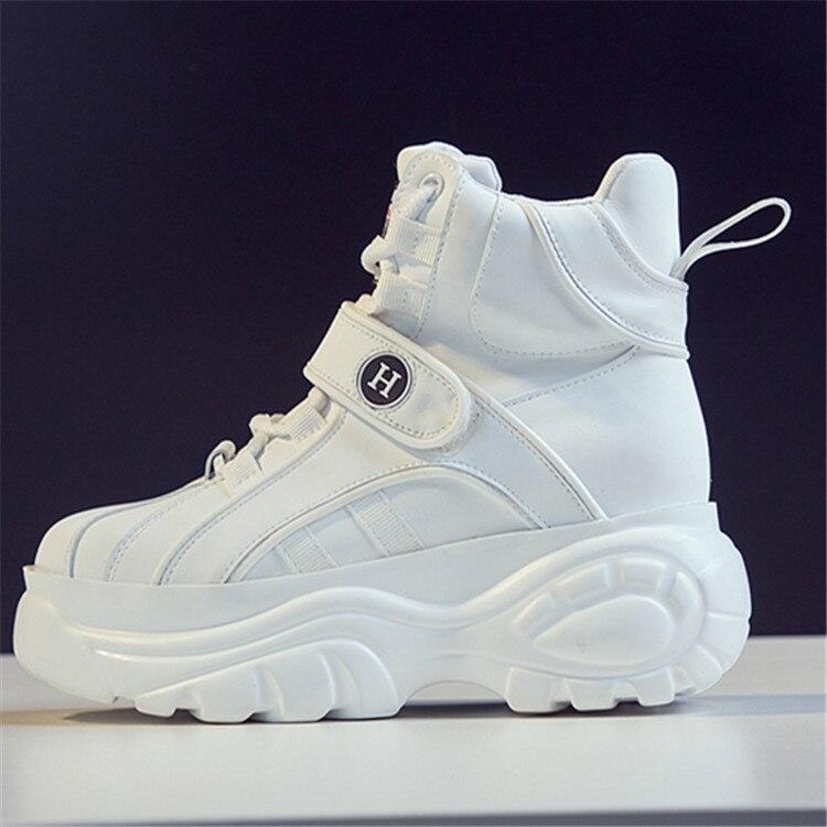 SWYIVY femme baskets haut blanc 2018 hiver automne femme chaussures décontractées chaudes plate-forme baskets chaussures femme crochet boucle - 2