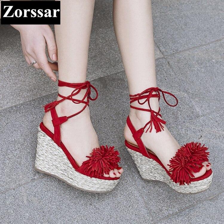 ФОТО Summer Women shoes peep toe High heels platform wedges sandals open toe 2017 Fashion tassel Genuine leather women's heels pumps