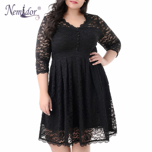 Women Elegant 3/4 Sleeve Midi Cocktail A-line Dress Sexy V-neck Party Plus Size 8XL 9XL Vintage Swing Lace Dress
