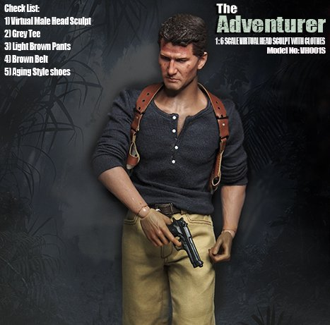 1/6 scale doll head with clothes for 1/6 scale action figure doll accessories figure The adventurer suit,not include body 2634 1 6 scale comedy king of france la grande vadrouille with 2 head figure doll model 12 action figure doll collectible figure