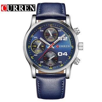 Curren Fashion Fake Blue Watch Top Fashion Leather Men Luxury Brand Watches Rock Man Sports Watches Male Quartz Watch 8207