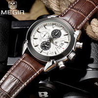 Top Brand Megir Men Chronograph Luxury Leather Military Quartz Watch Male Waterproof Sports Wrist Watches Relogios