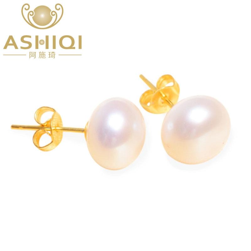 ASHIQI Real Natural Freshwater Pearl Stud Pendientes para mujer, blanco rosa púrpura 925 plata esterlina joyería chapada en oro