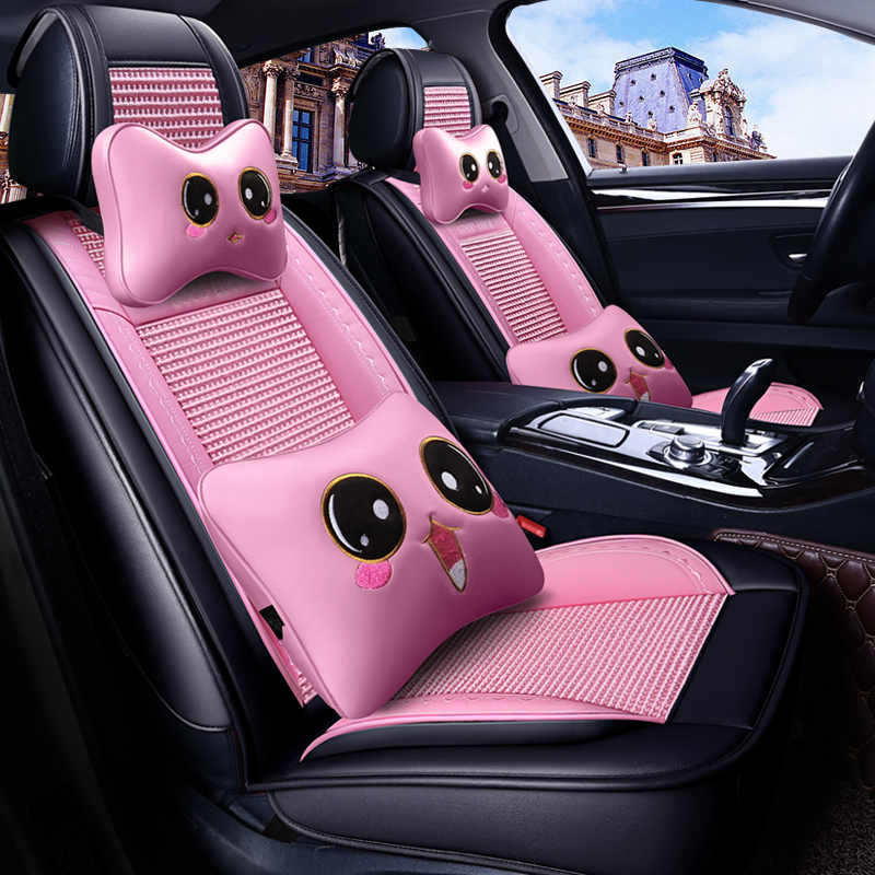 Autofans Universal Ice Silk with Leather Cartoon Pink Seat Covers Cute Girl Seat Cushion 4 Season Seat Protector Airbag Free Z14