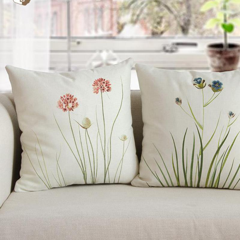 American Style Pastoral Flower Pillow Modern Minimalist Decor Small Fresh Bouquet Plush Chair Cushion For Bedroom Accessories
