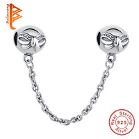 100 925 Sterling Silver Bow Heart Daisy Safety Chain Charm Beads Fit Original Pandora Charm Bracelet