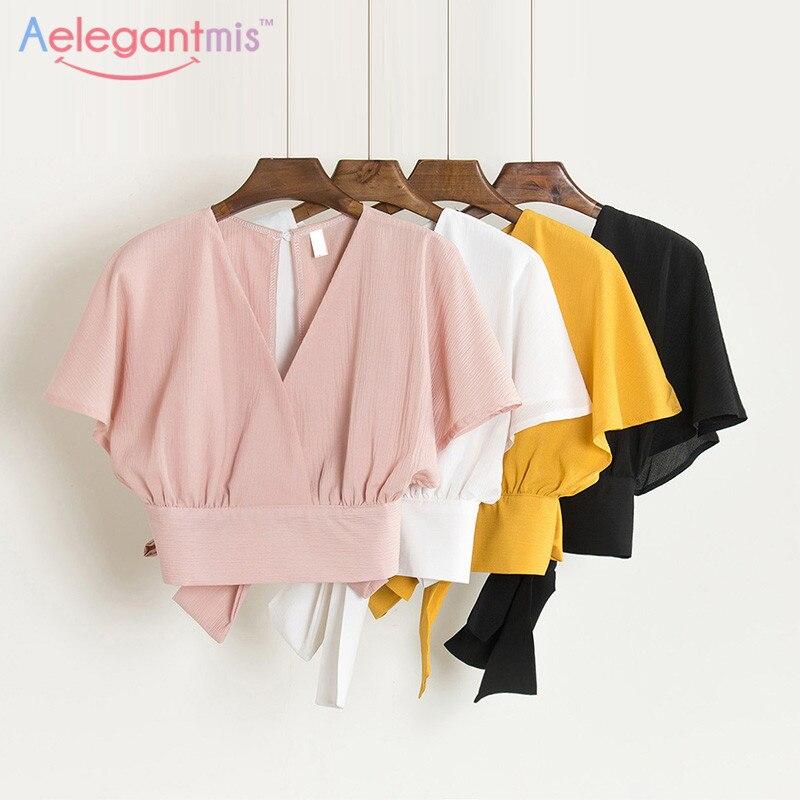 Señoras Mujeres Sexy Manga Camisa Backless Blusa rosado Verano Camisas Negro cuello Moda Elegante blanco Corta amarillo Playa De Tops Arco V Lindo xZTqw