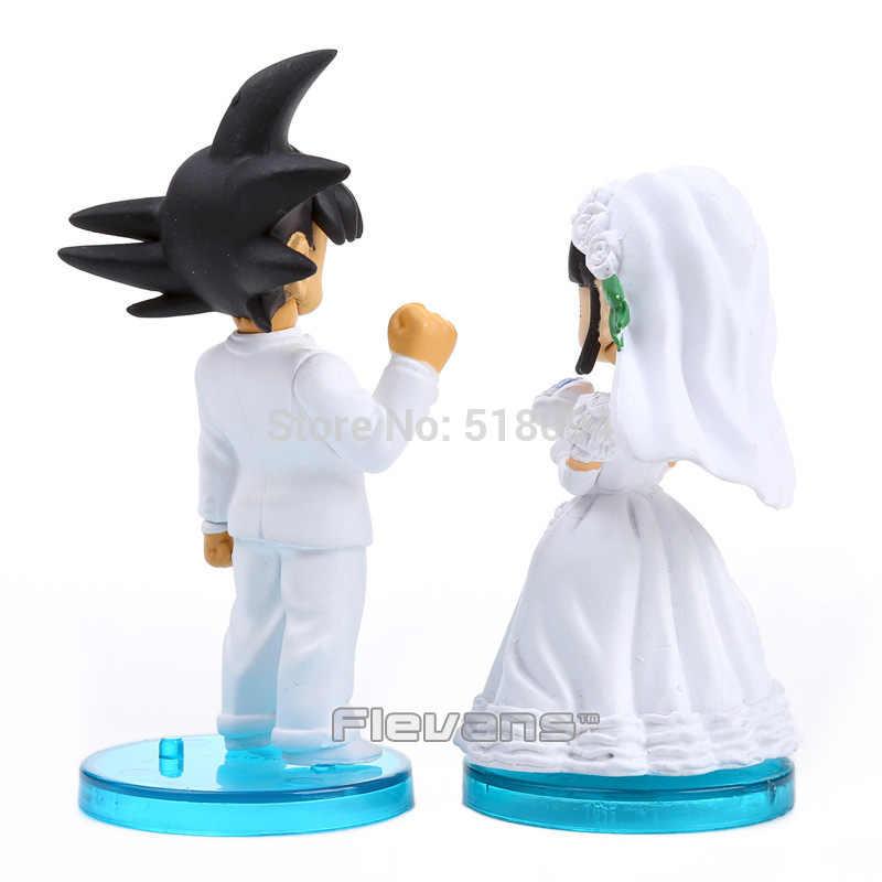 Anime Dragon Ball Son Goku e ChiChi Casamento PVC Dolls Figuras Brinquedos 8 cm 2 pçs/set