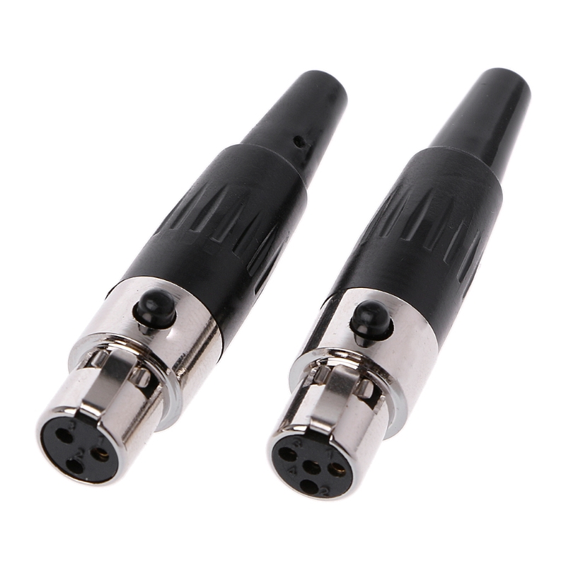 1Pcs High Quality Mini XLR 3 4 Pin Female Plug Small XLR Audio Microphone Connector For MIC Soldering Straight