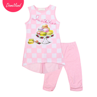 2017 Fashion Brand Domeiland Summer Girl Clothing Set Outfits 2pcs Cute Baby Kids Cotton Plaid Sleeveless